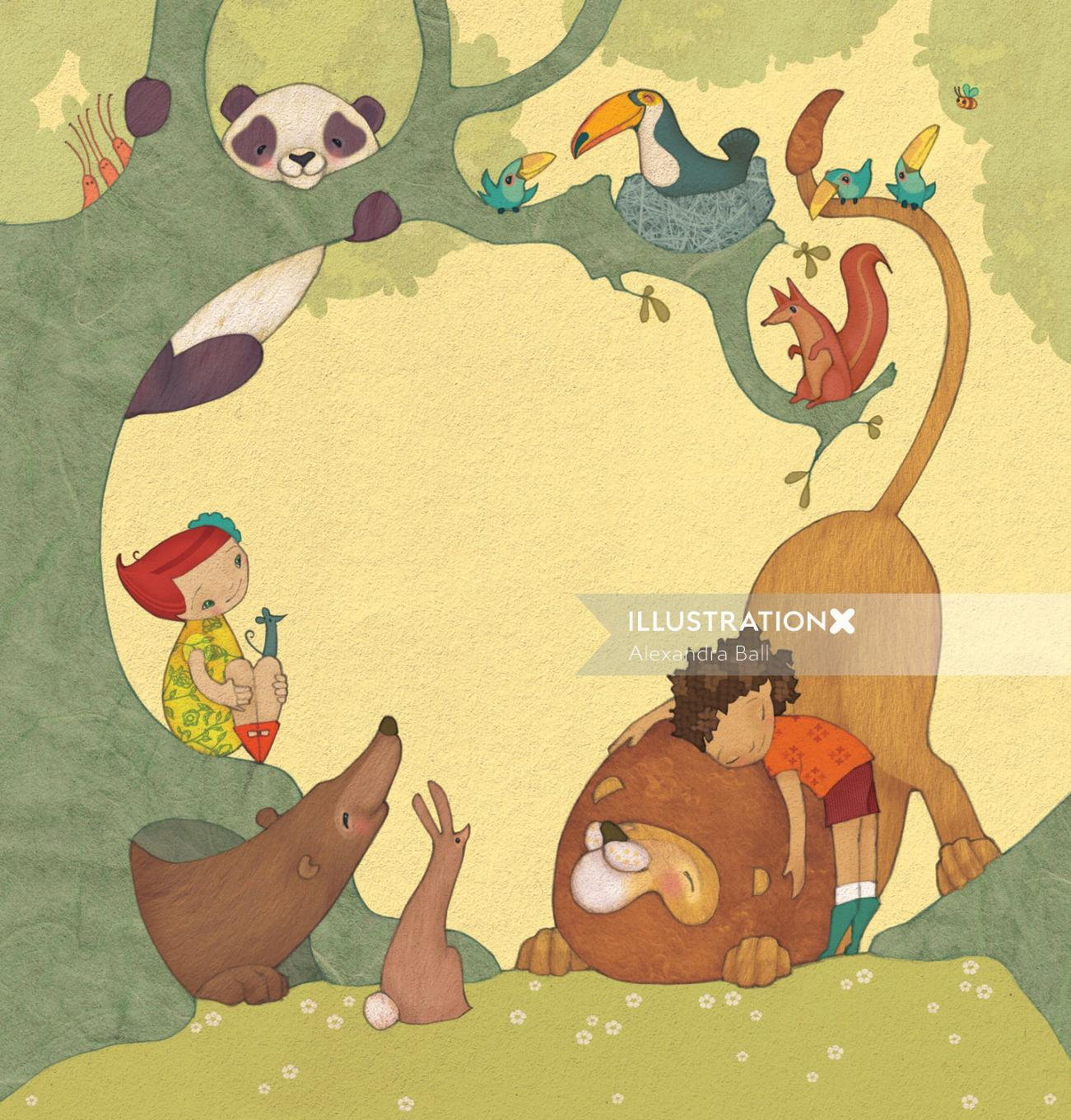 Illustration of a children playing and showing care for animals