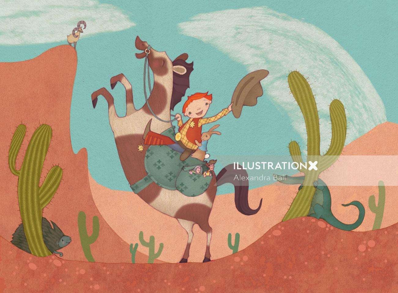 child cowboy on horse rearing up with toys in bag