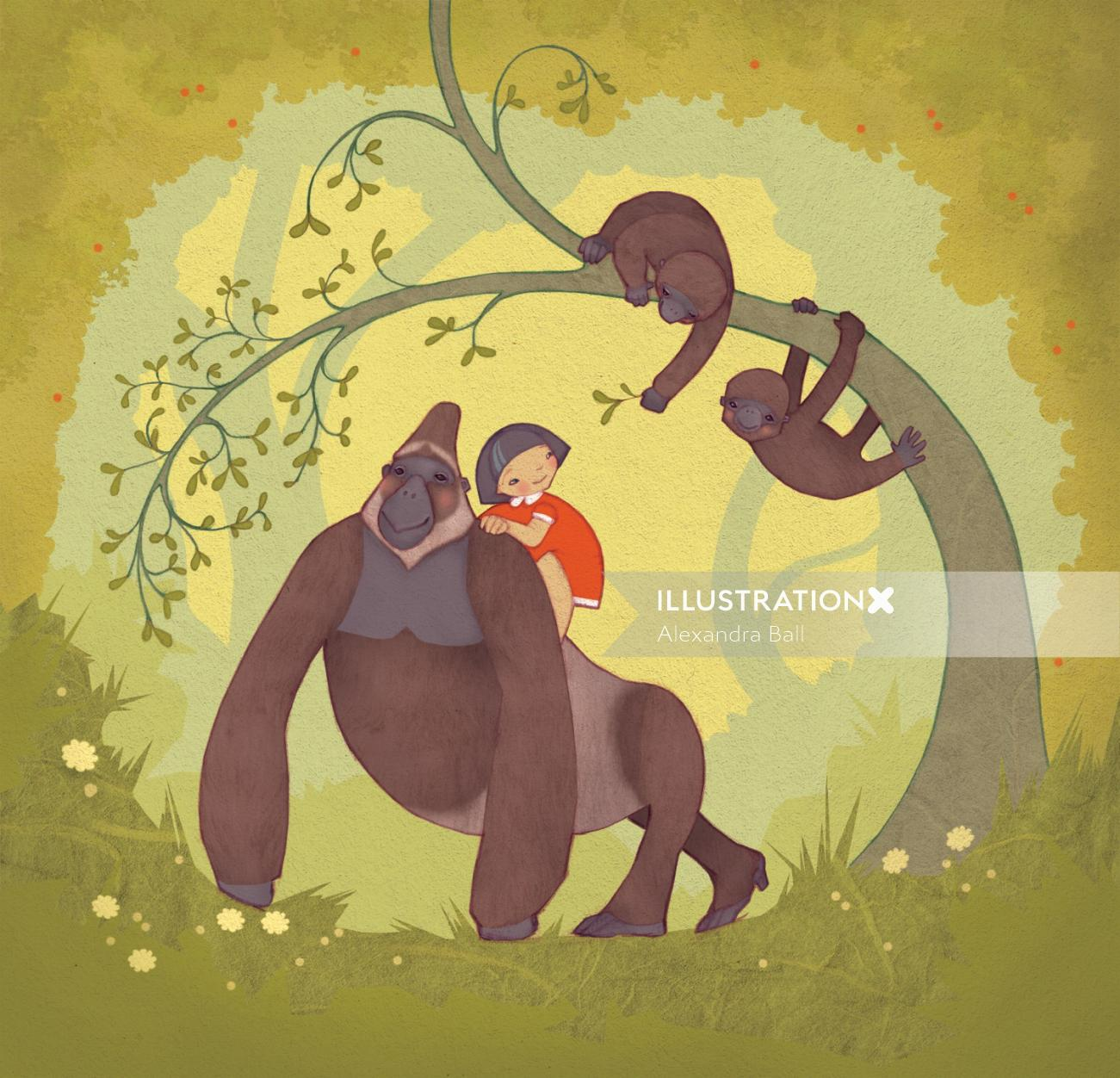 An illustration of mountain gorillas with young girl