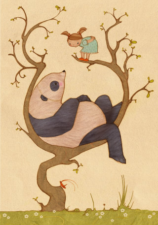 An illustration of panda and girl up a tree