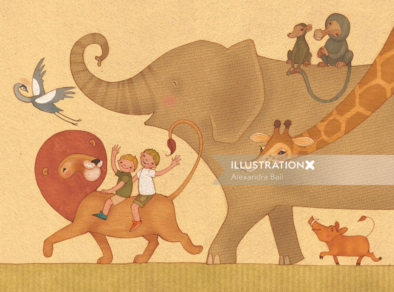 Alexandra Ball: Safari boys illustration