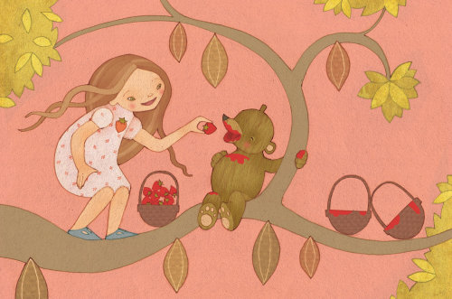 girl and bear illustration