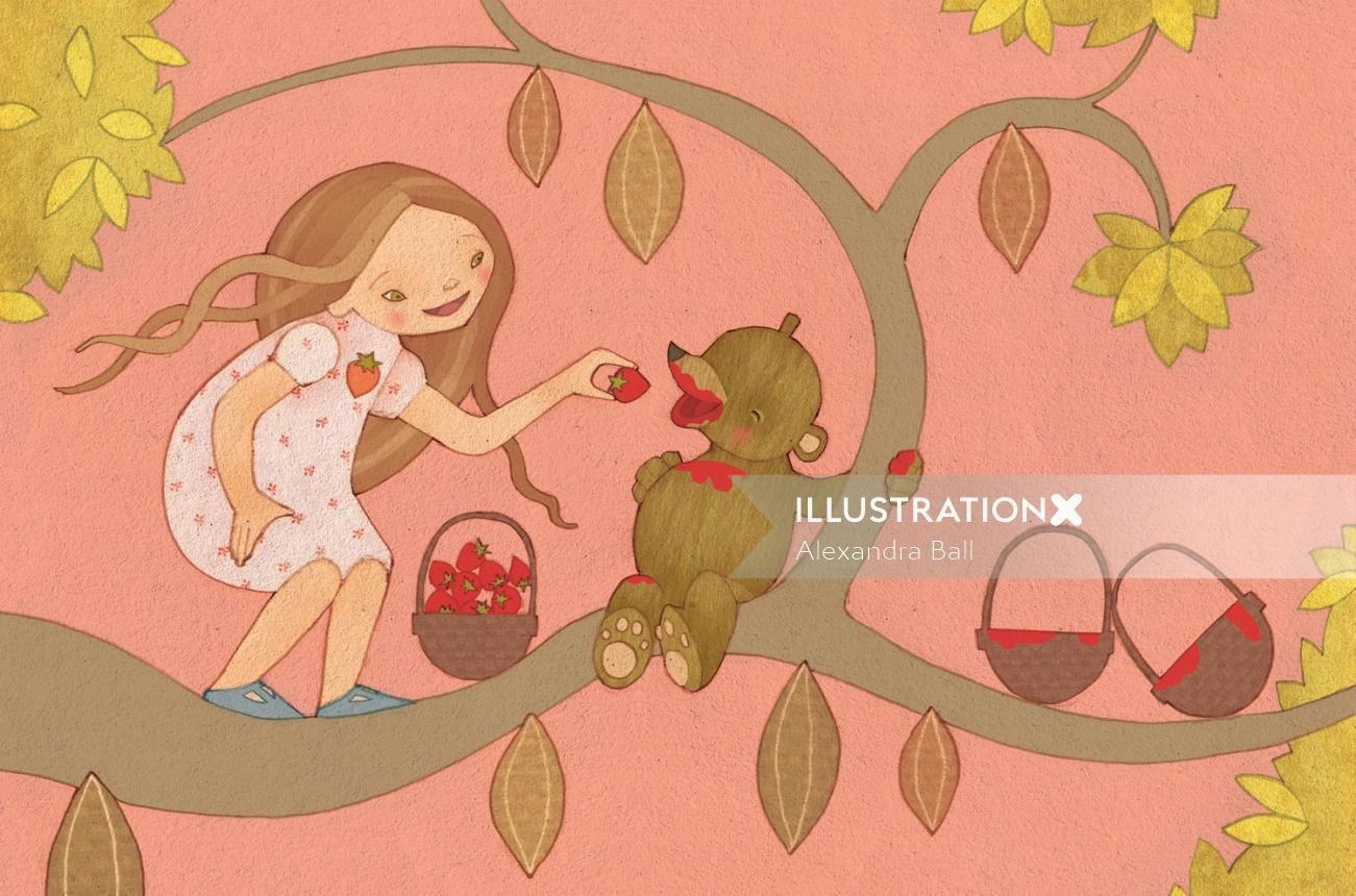 girl and bear illustration
