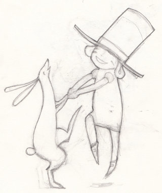 Cartoon illustration of rabbit and boy