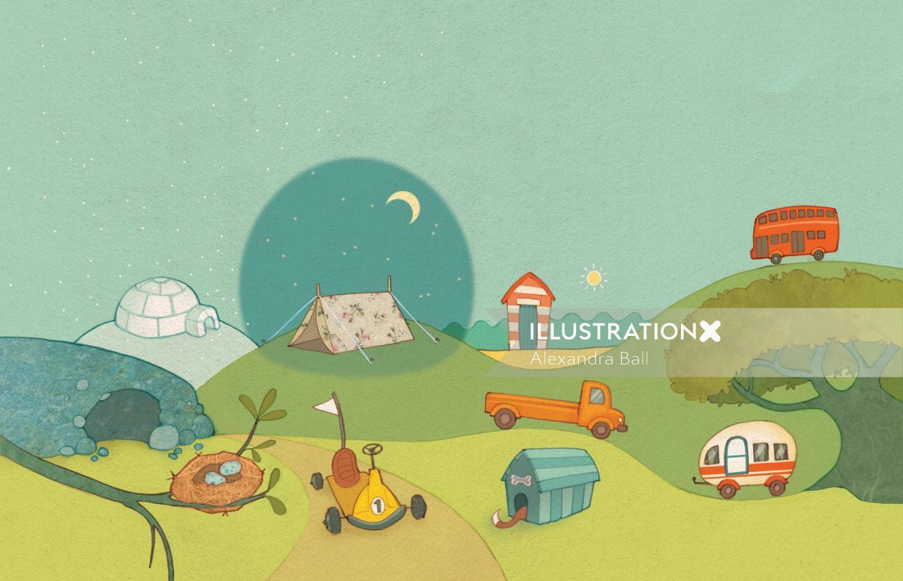Alexandra ball: Do You Want? book illustration spread. houses