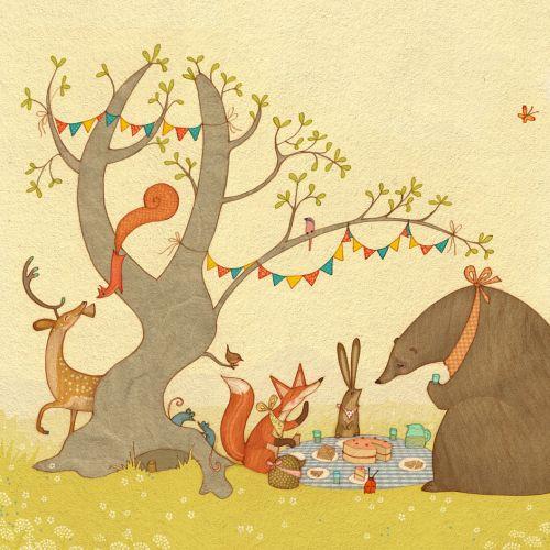 An illustration of animals having picnic