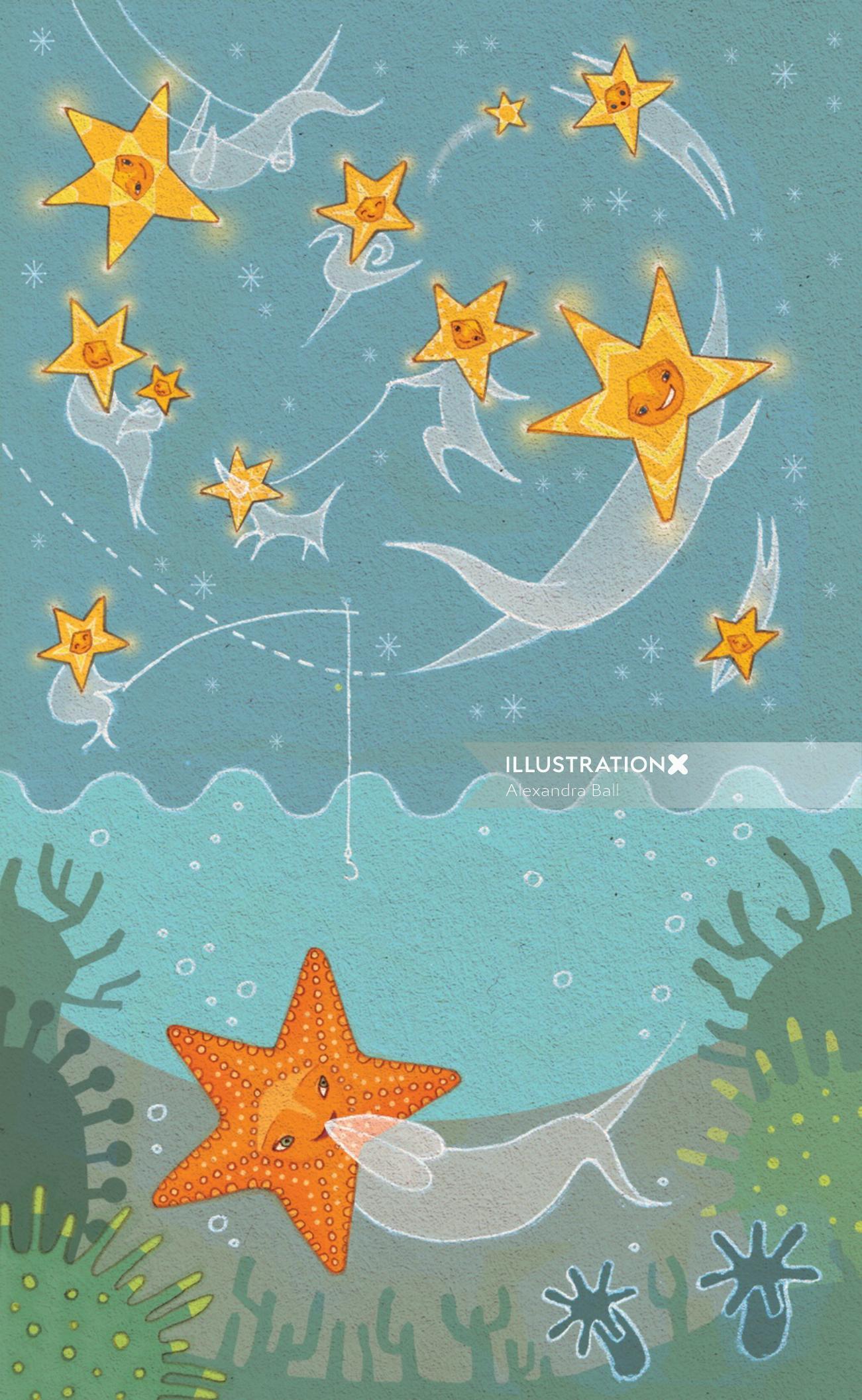 Alexandra Ball: Princess Cruises - Star Illustration