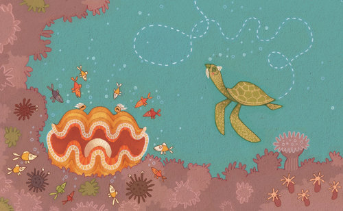 Princess Cruises, Clam & Turtle Illustration