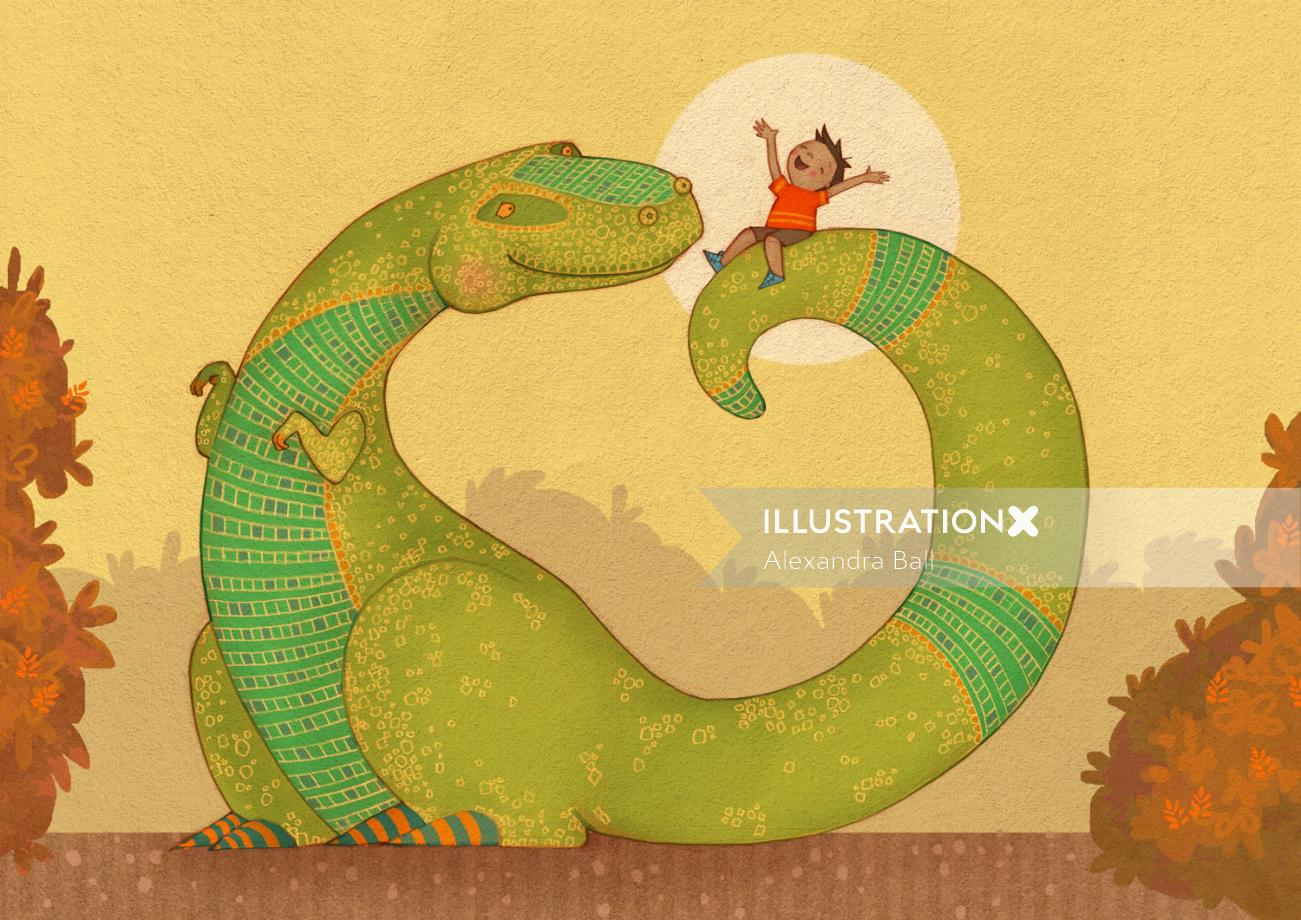 An illustration of T rex with young boy on tail