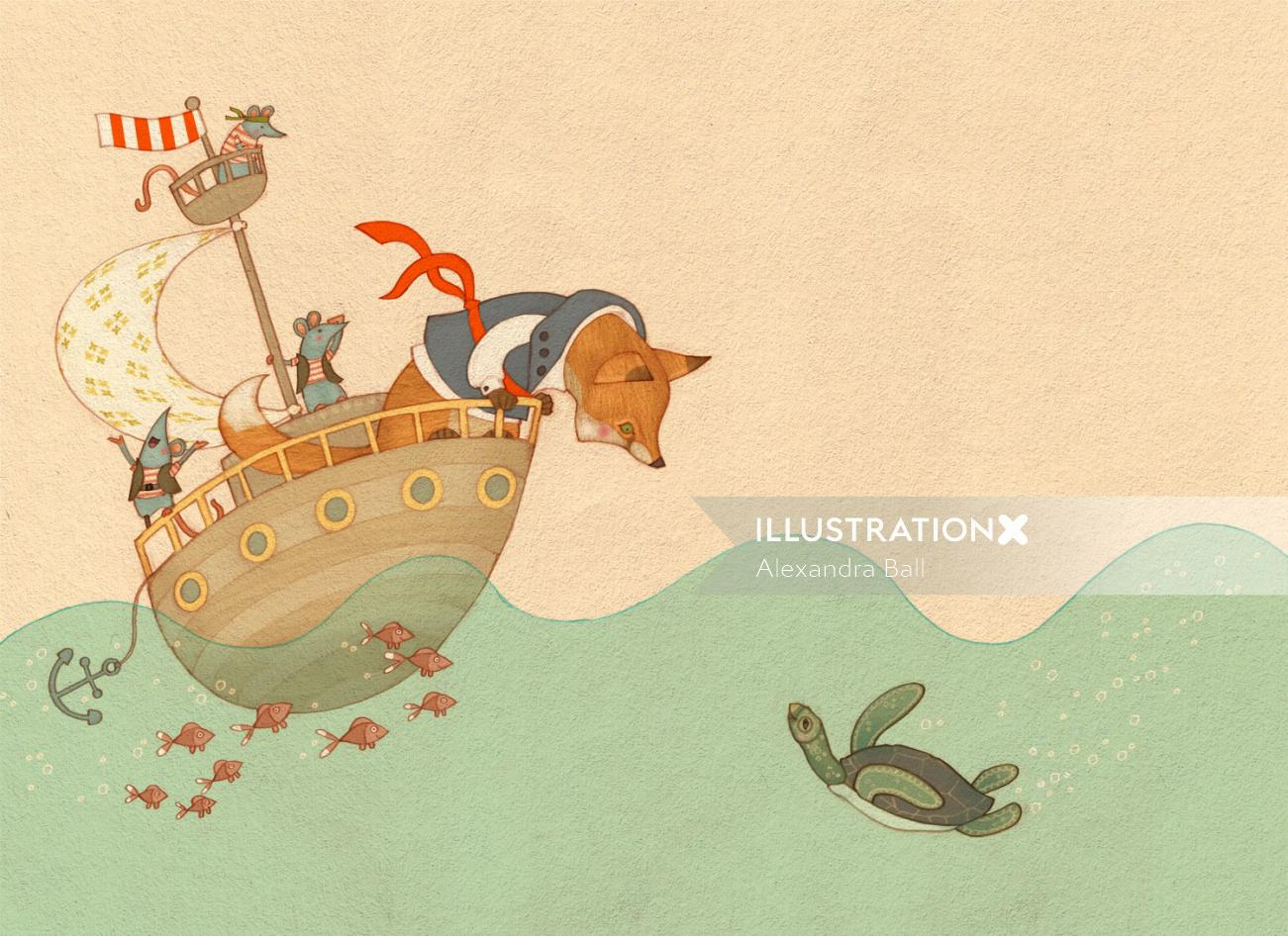 An illustration of fox pirate and mice in boat sailing