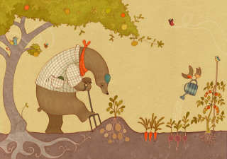 Gardening Bear Illustration