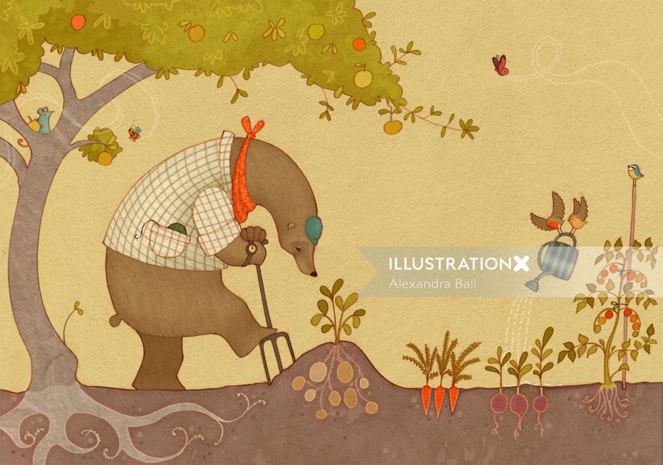 Gardening Bear Illustration