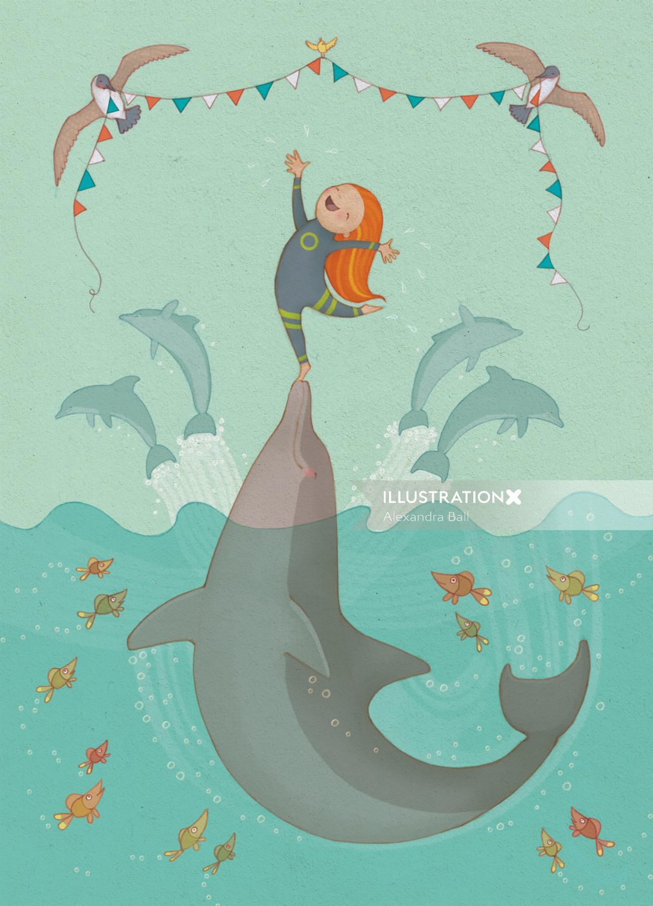 An illustration of girl doing acrobatics on dolphin