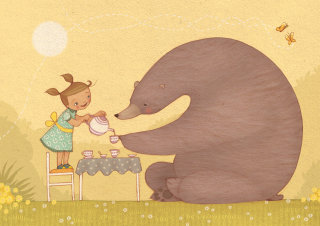 An illustration of girl and bear