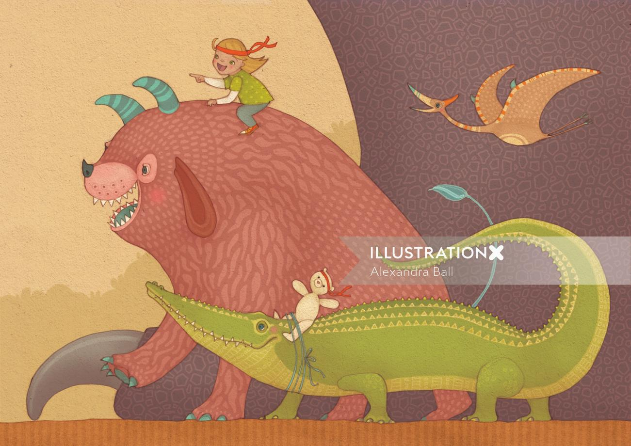 An illustration of girl on monster