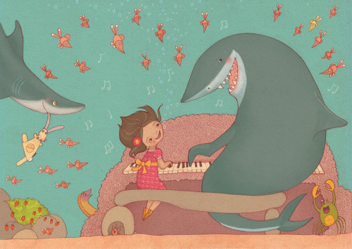 Girl play with sharks  illustration by Alexandra Ball