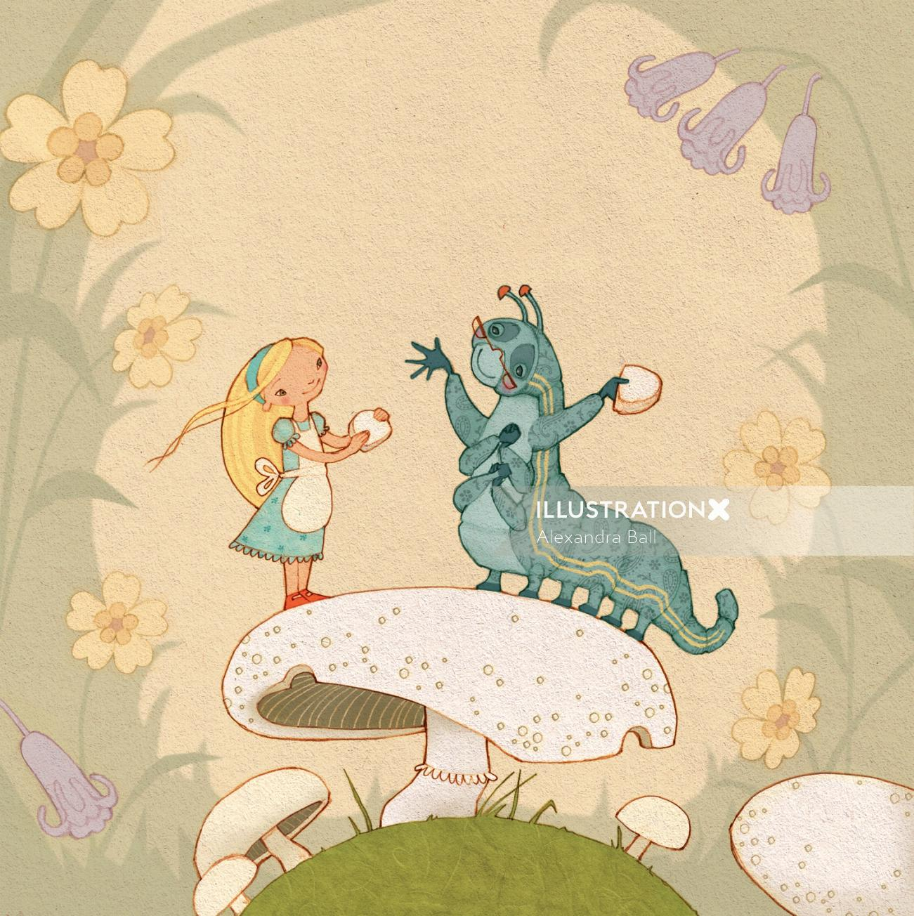 An illustration of Alice and the blue caterpillar