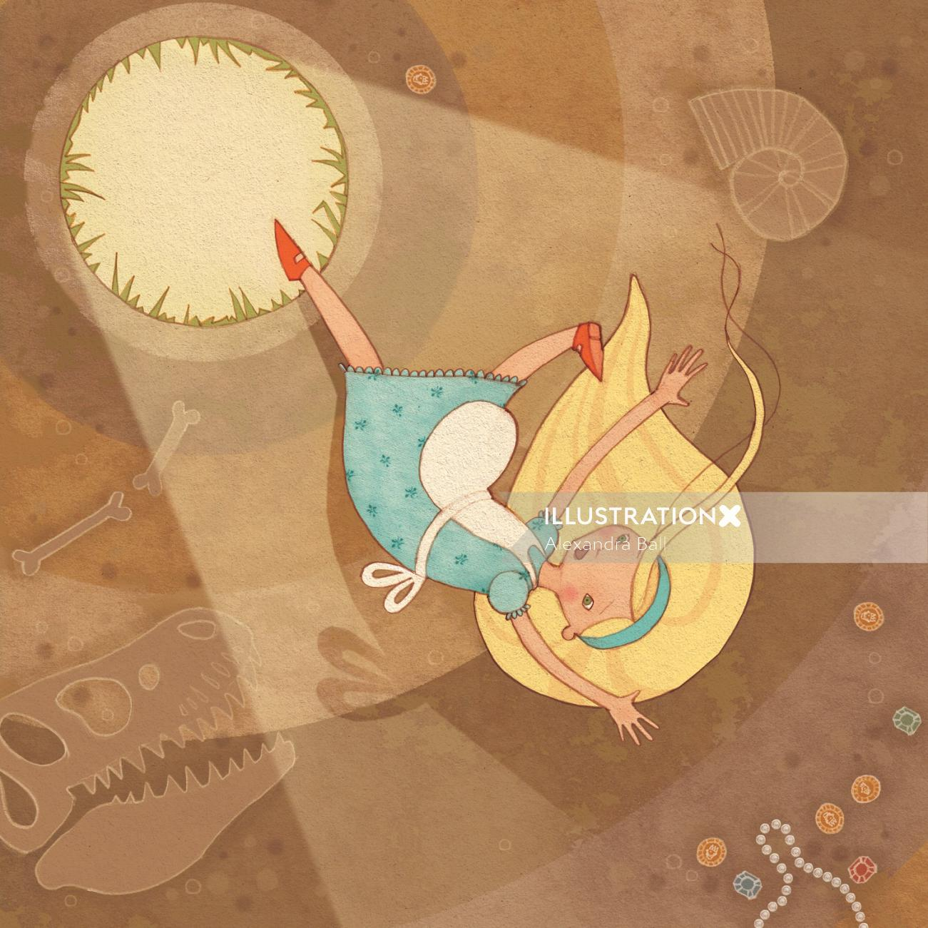 Alice in Wonderland: Falling, Illustration