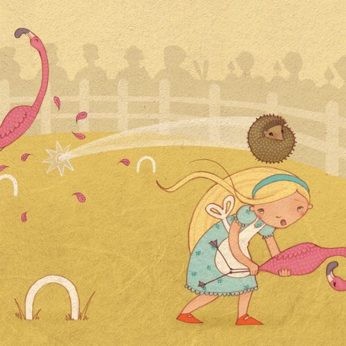 Little girl playing with flamingo