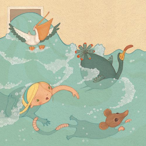 Alice in Wonderland: swimming illstration