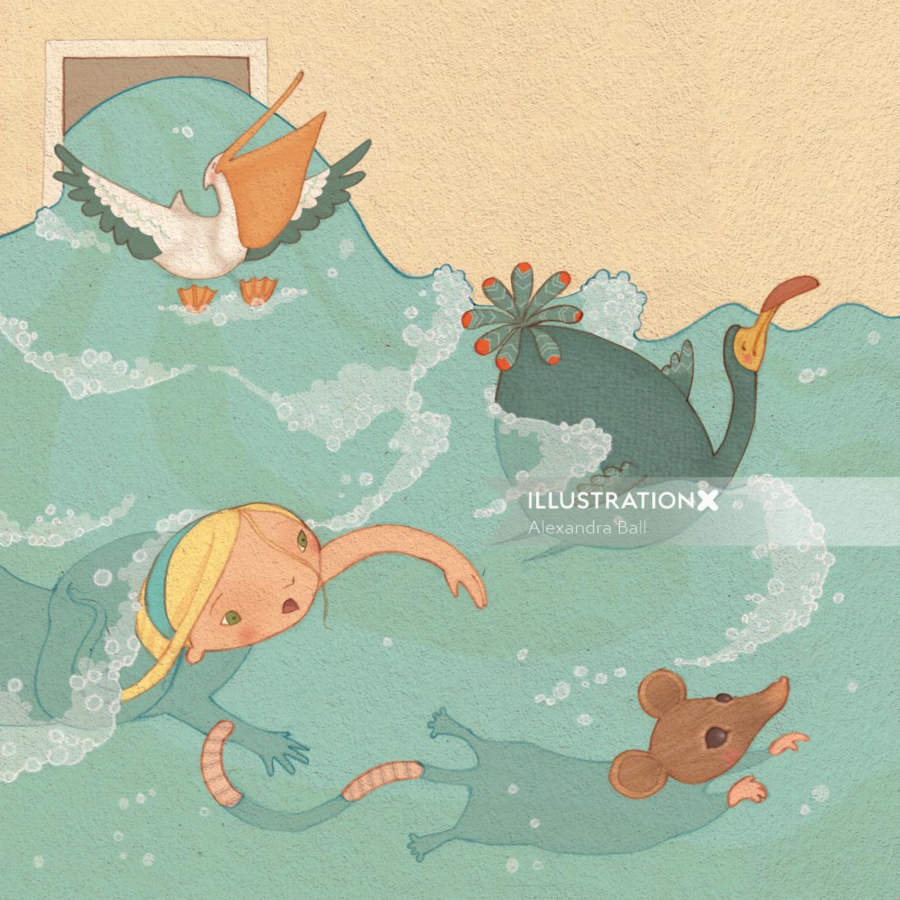 Alice in Wonderland: swimming illstration