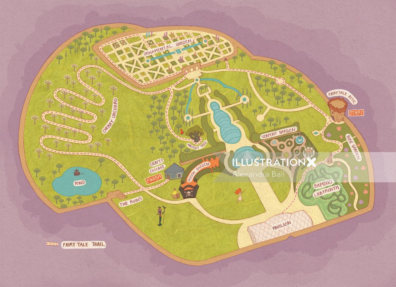 An illustration of alnwick garden map