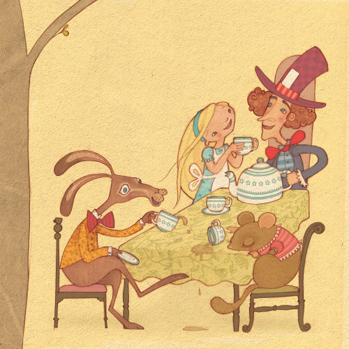 Alice is at the mad hatter's tea party