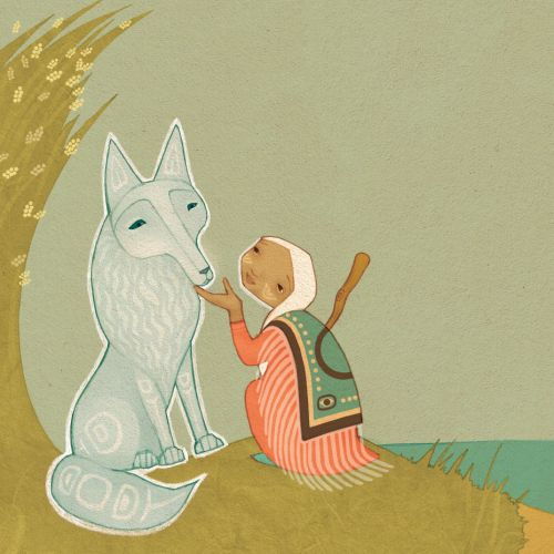 Copper Woman and White wolf nature illustration