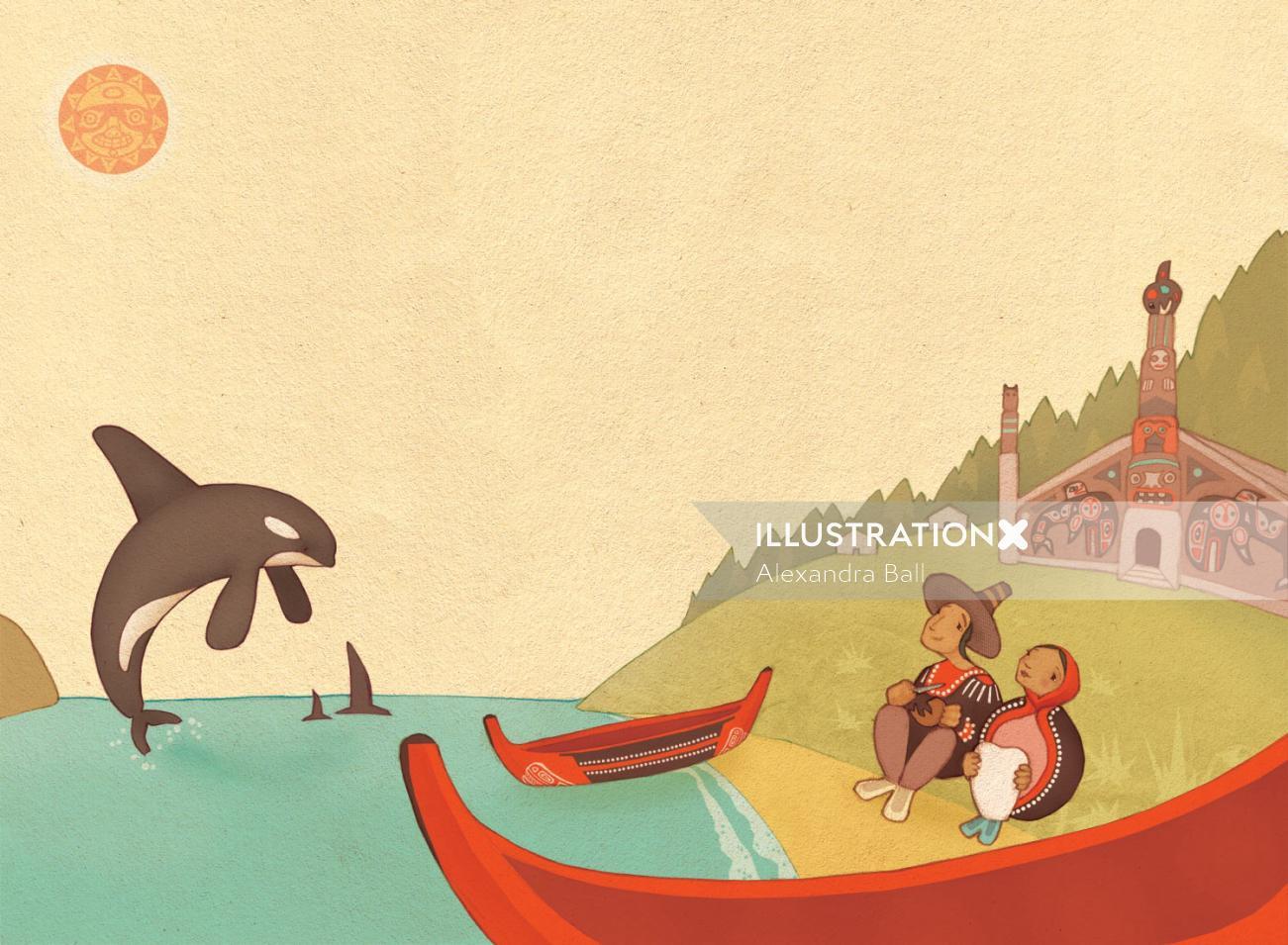 Alexandra Ball, children's book illustrator: National Geographic Tlingit legend 4