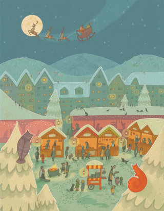 An illustration Christmas market scene