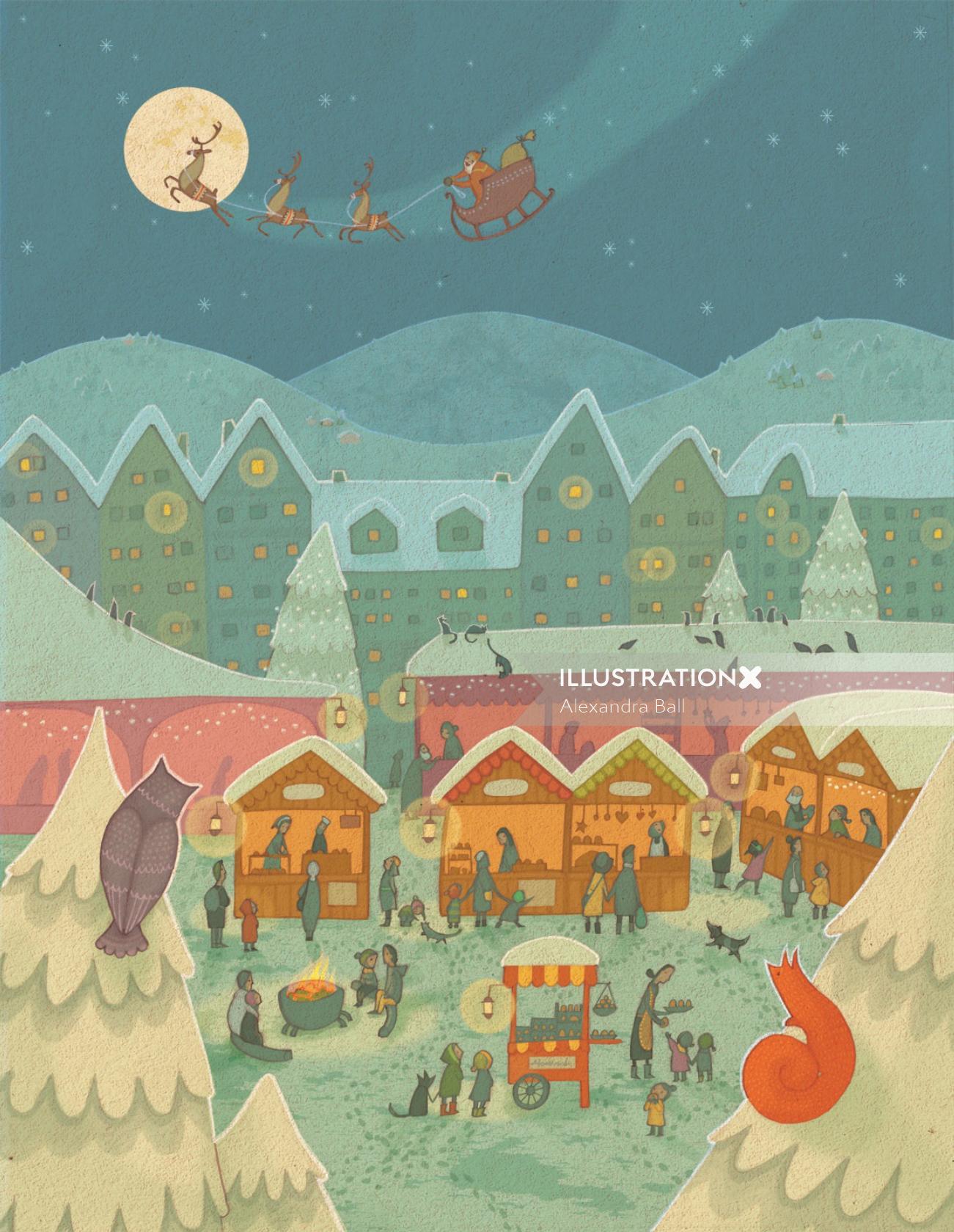 An illustration Christmas market scene