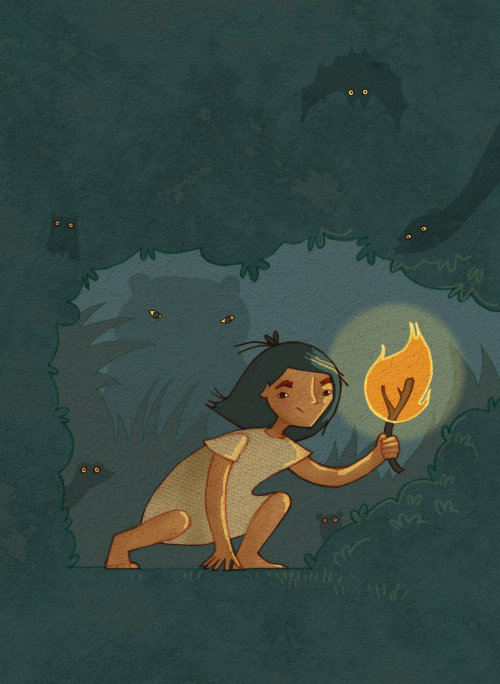 Girl holding fire stick illustration by Alexandra Ball