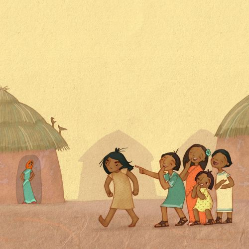 children in the village digital art- jungle Book