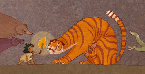 Baby holding fire before tiger illustration by