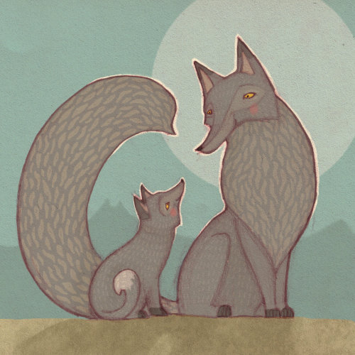 Mother and baby wolf illustration by Alexandra Ball