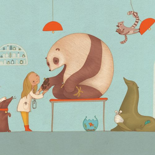 An illustration of girl playing with panda