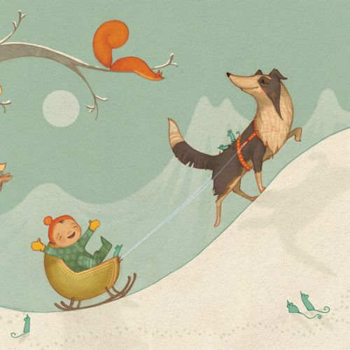 Collie dog pulls baby in the snowy mountain - An illustration by Alexandra Ball