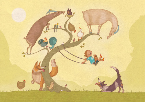 Animals, boy playing illustration by Alexandra Ball