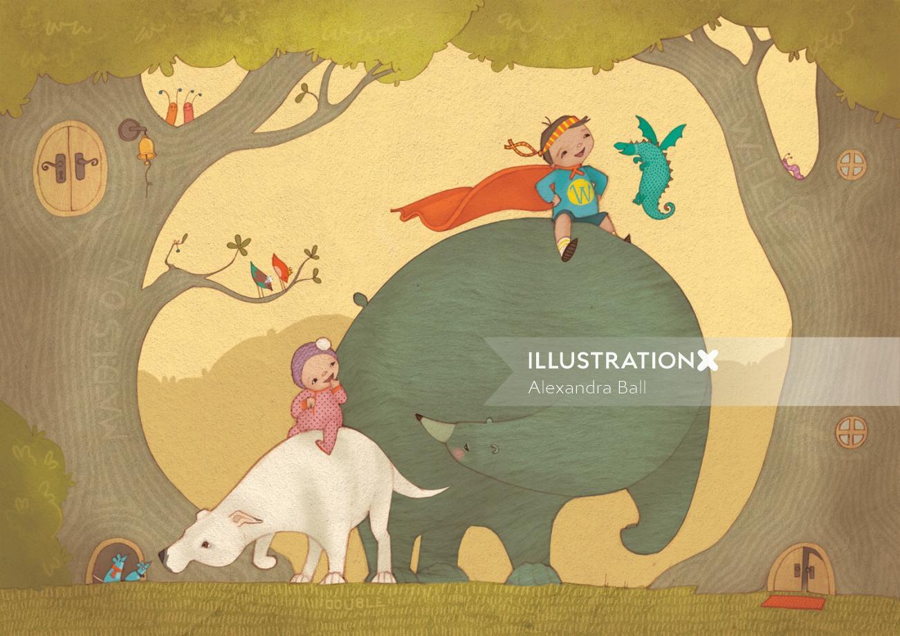 An illustration of boy riding on bear