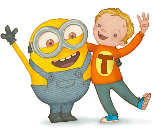 Cartoon illustration of a boy and a minion