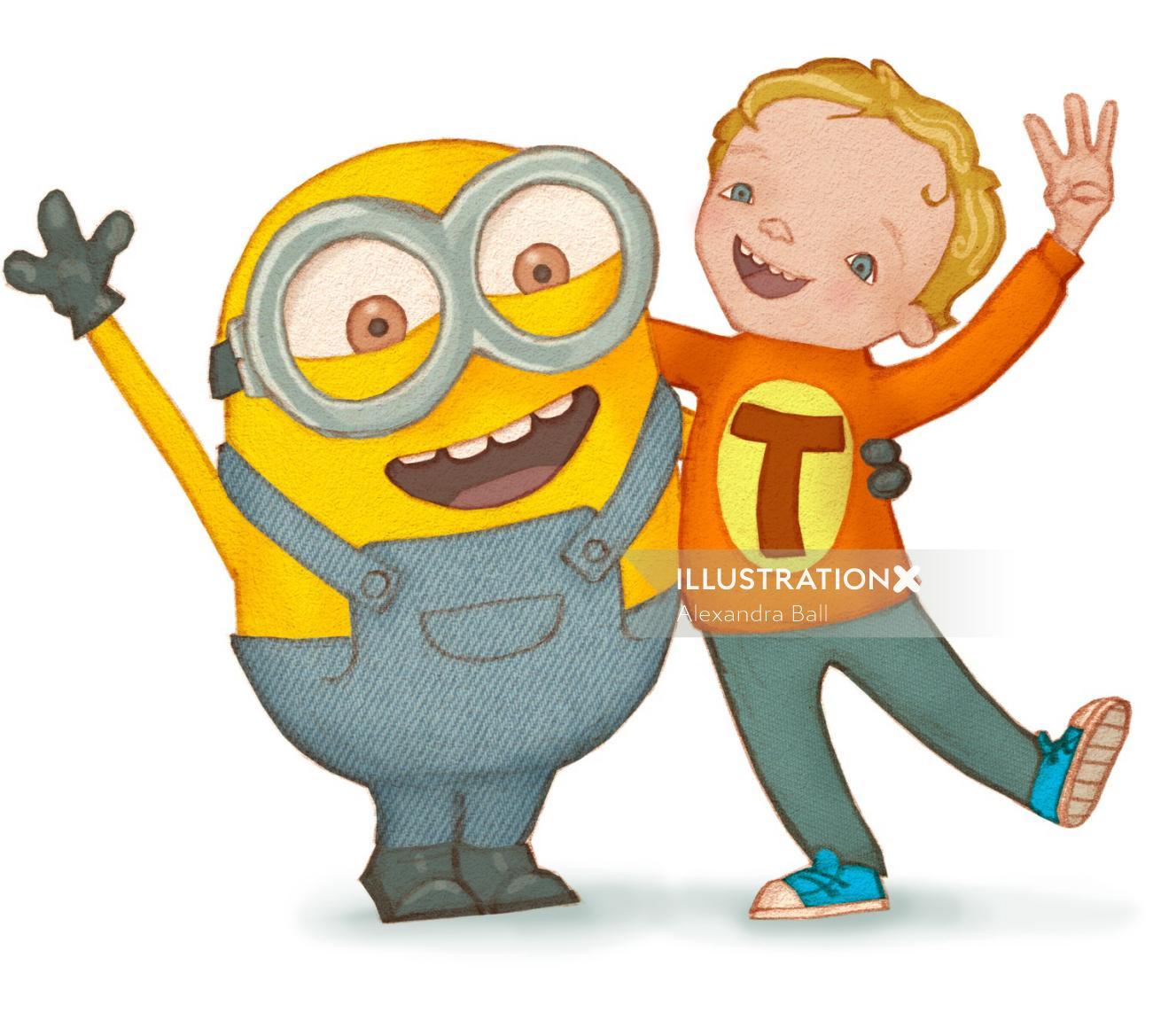 Cartoon illustration of a boy and a minion