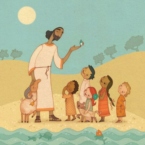 An illustration of Jesus with children