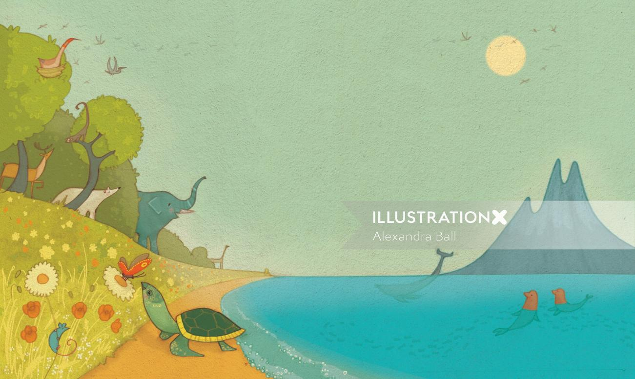 An illustration of animals at beach