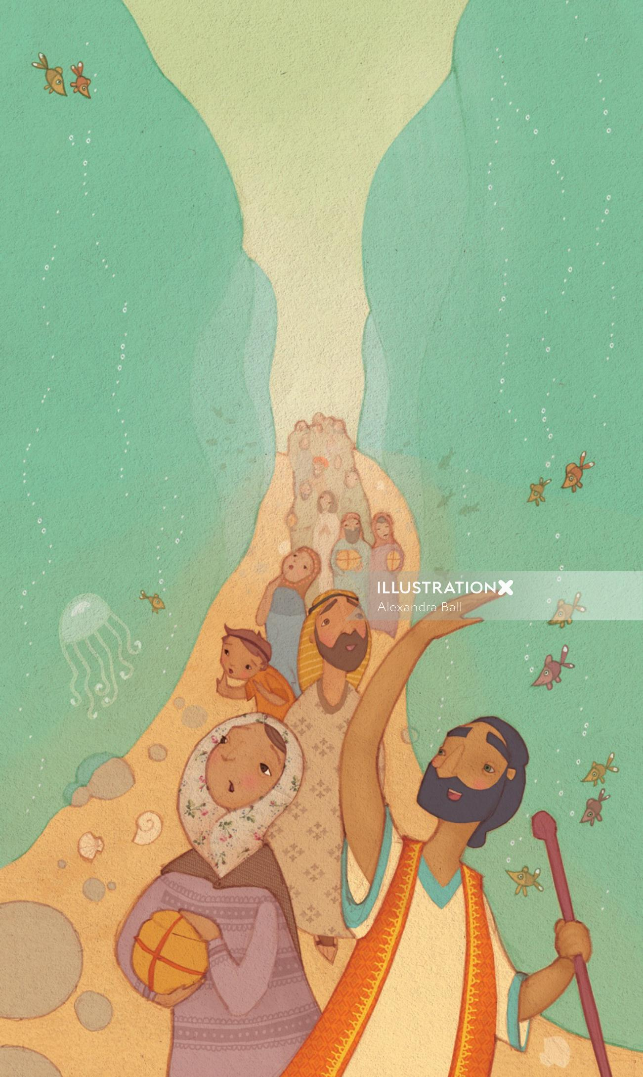An illustration of Moses parting the red sea