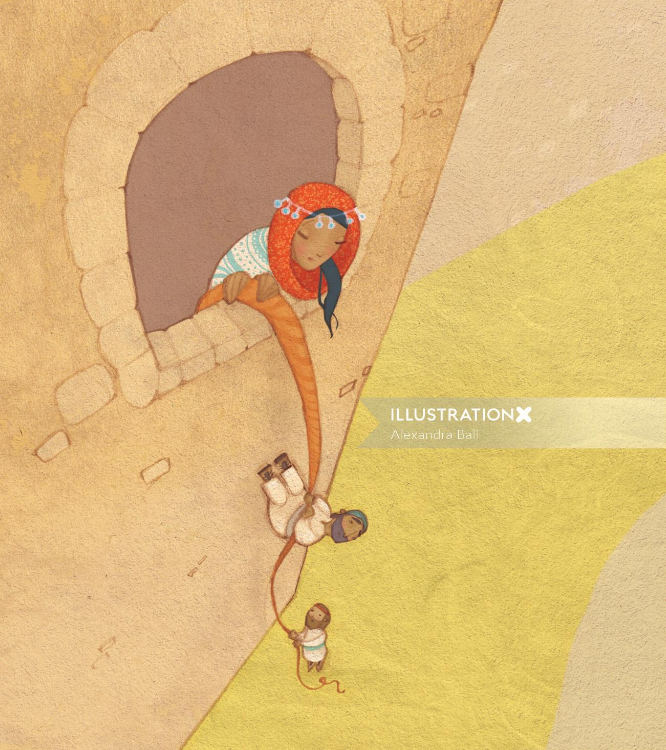 An illustration of Rahab helping the pies escape