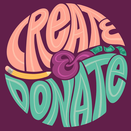 Conceptual lettering of create & donate