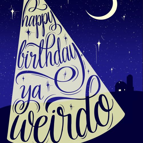 Happy birthday lettering poster design