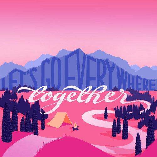 Graphic lettering of together