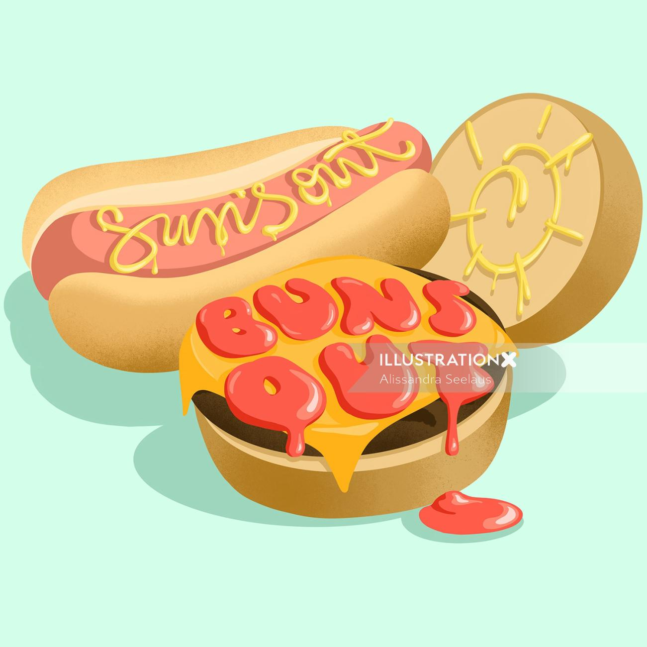 Food illustration of suns out buns out