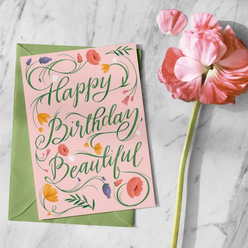Floral lettering of happy birthday beautiful